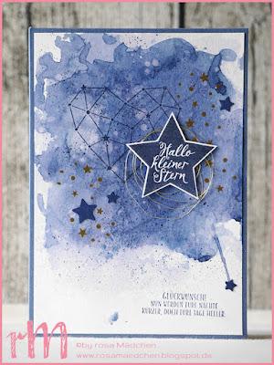 """Stampin' Up! rosa Mädchen Kulmbach: Babykarte """"kleiner Stern"""" mit Sternstunden"""