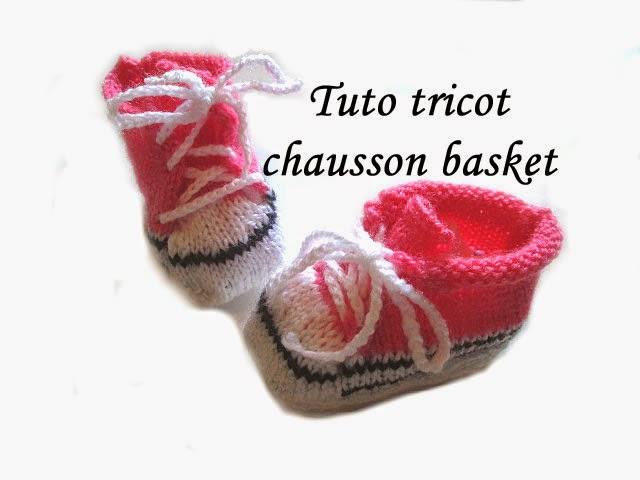 les tutos de fadinou tuto tricot chausson basket pour bebe au tricot. Black Bedroom Furniture Sets. Home Design Ideas