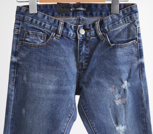 Blue Wash Distressed Skinny Jeans