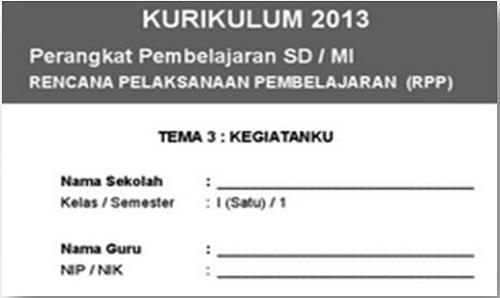 RPP Kelas 1 Tema 3 Kurikulum 2013 Terbaru