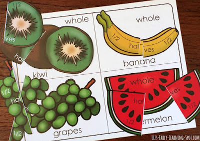 Practice fraction concepts of whole, halves and quarters with this free fruity fractions activity.