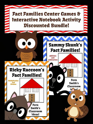 Discounted Bundle of All Four Fact Families Center Game & Interactive Notebook Activity