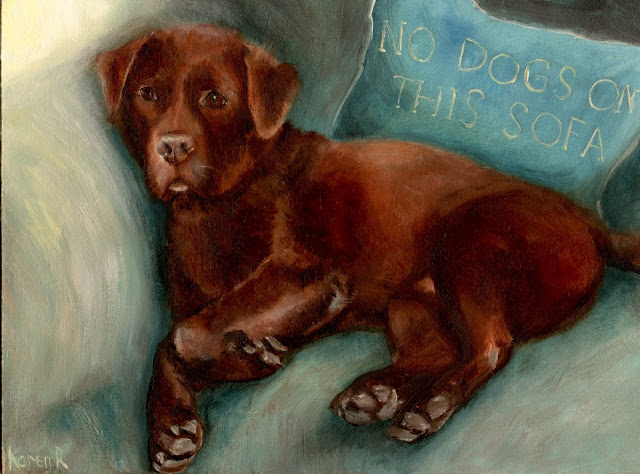 oil painting of a chocolate labrador, on a sofa, with a cushion