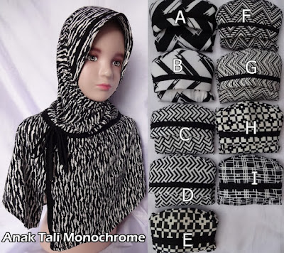 Grosir Jilbab Anak Tali Monochrome