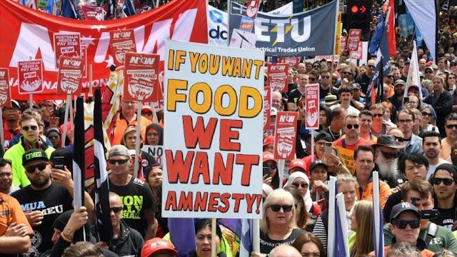Masivas protestas en Australia por condiciones laborales