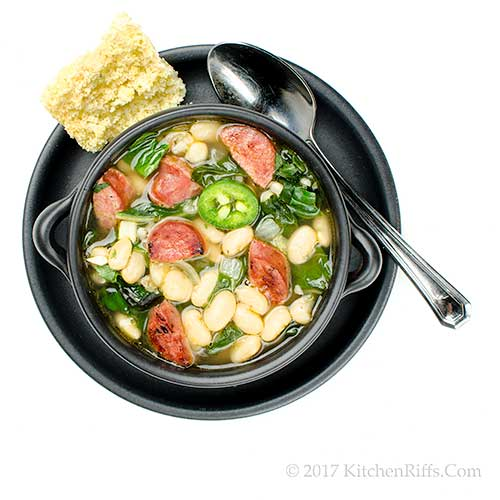 Cajun-Spiced White Bean and Andouille Soup