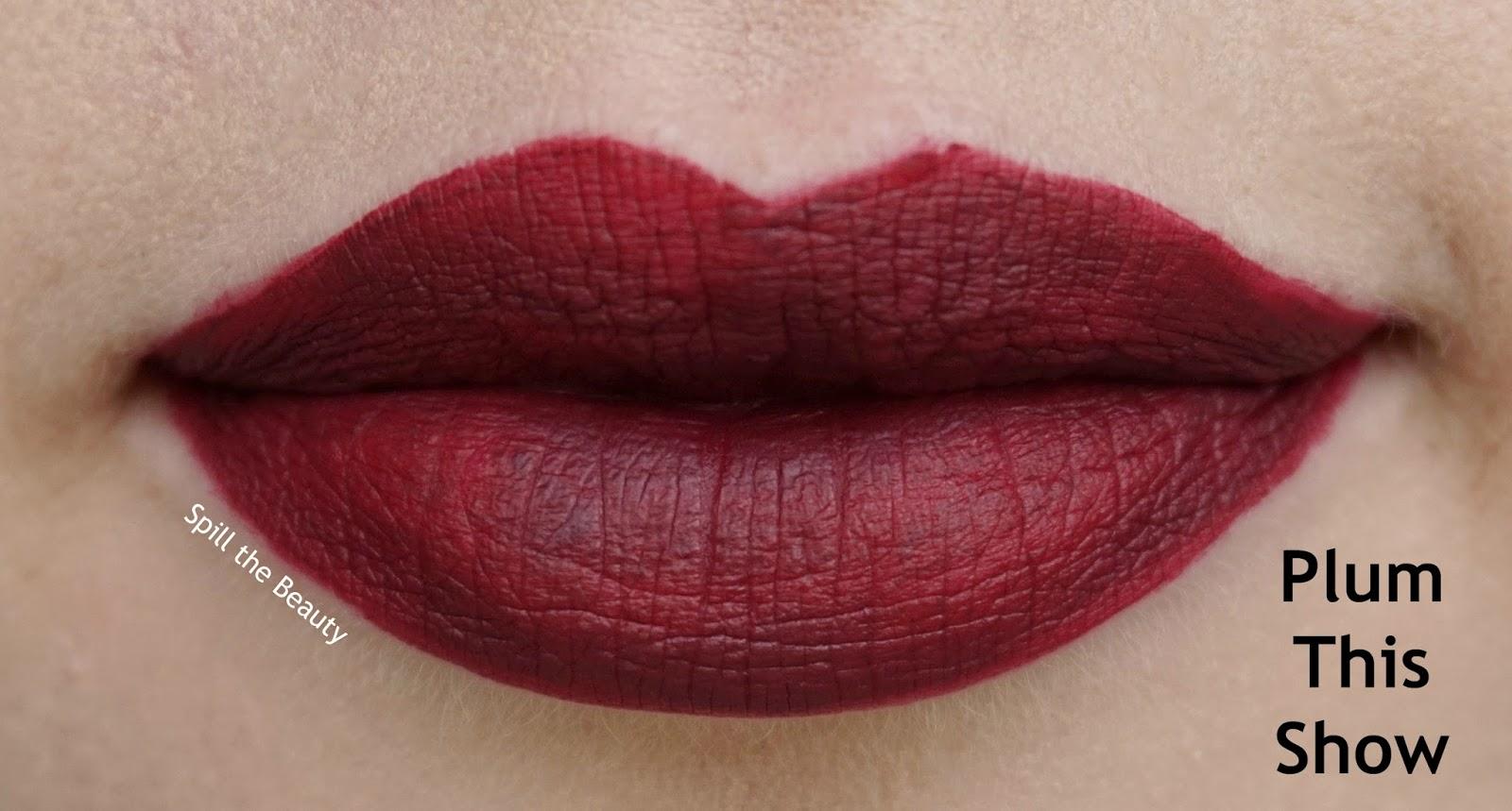 rimmel london stay matte liquid lip color review swatches 810 plum this show