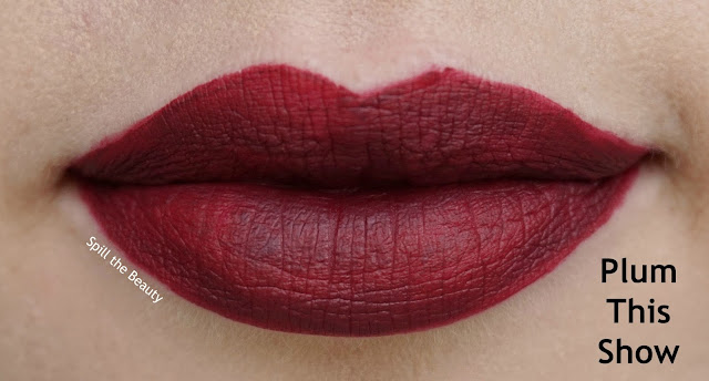 rimmel london stay matte liquid lip color review swatches 810 plum this show