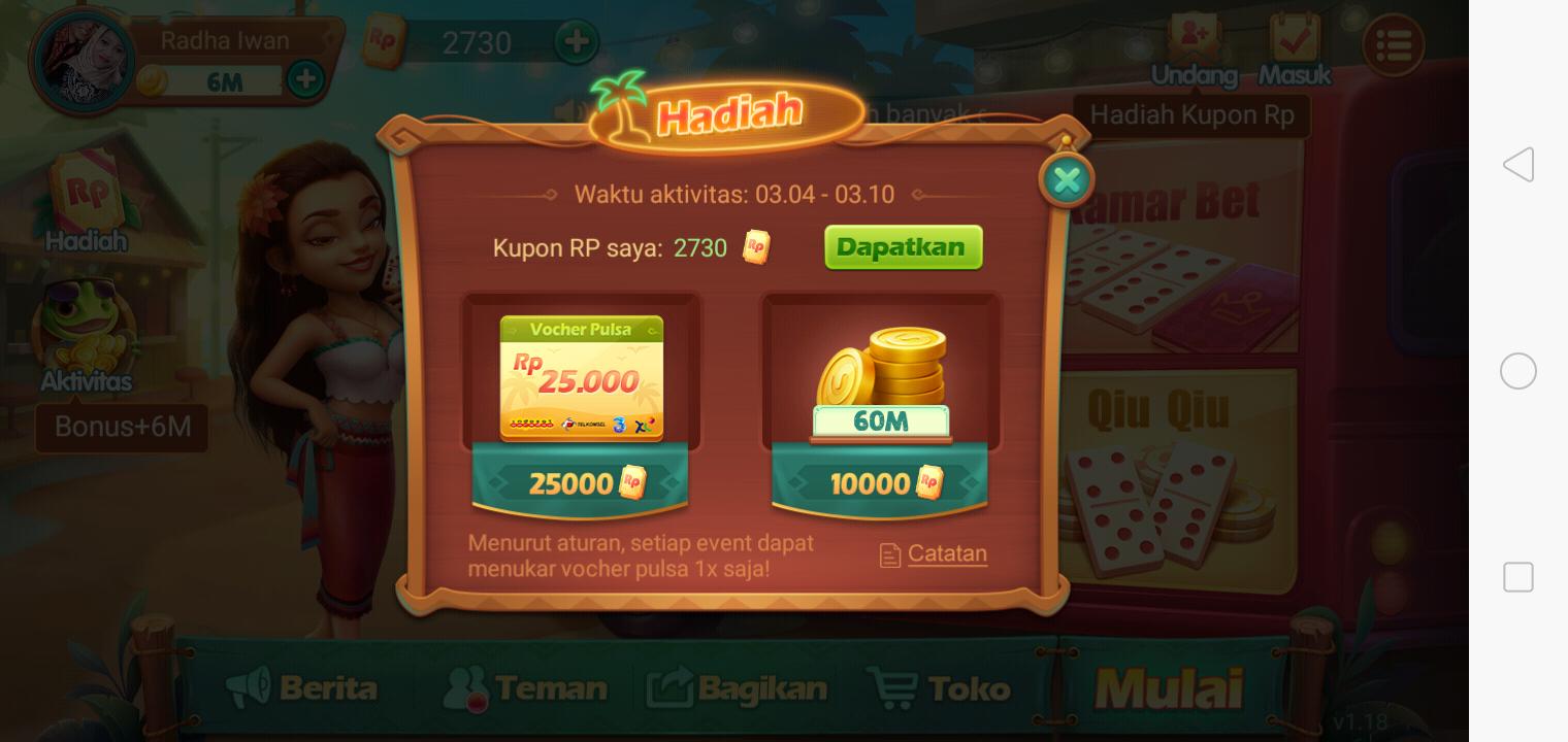 Selusi Mencari Rezki Hadiah Pulsa Game Gaple Qq