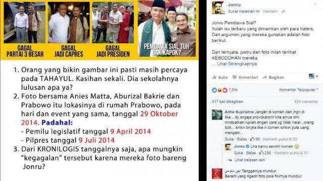 Jonru Sipembawa Sial, Foto Bareng Jonru, Yusril Diprediksi Keok di Pilgub DKI 2017