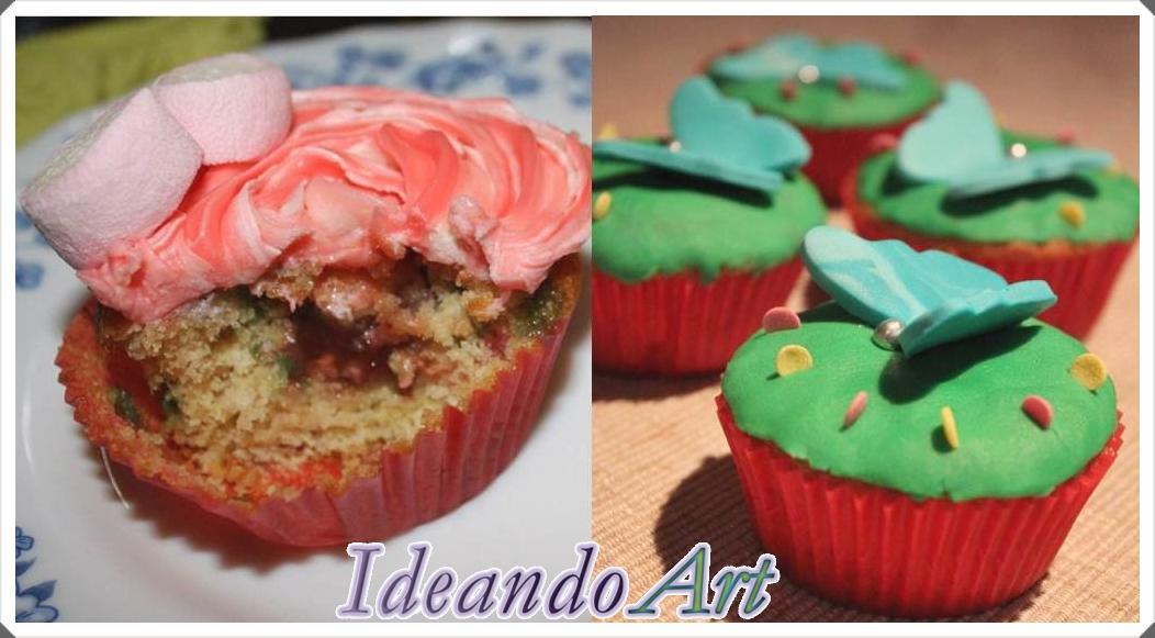 Cupcakes con confeti y decorados