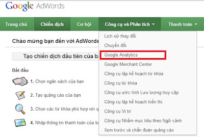 Liên kết Google Analytics với quảng cáo Ads