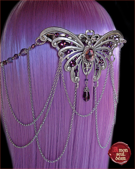 Pince cheveux papillon féerique elfique argent violet améthyste barrette accessoire coiffure hair slide butterfly silver purple amethyst elven headdress hairdressing jewelry elf