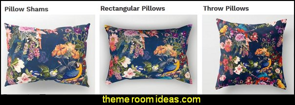 FLORAL AND BIRDS  pillows  Tropical beach style bedroom decorating ideas - beach bedrooms - surfer theme rooms - tropical theme Hawaiian style decorating - raffia valance window ideas - tropical bedding - tropical wall murals - palm trees decor - tropical bedroom decorating ideas - tropical furniture - tropical baby nursery decorating