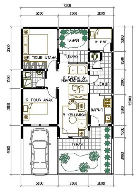 Konsep Denah Rumah Minimalis 1 Lantai 3 Kamar Tidur Dan ...