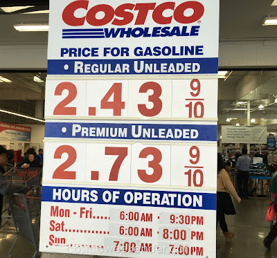 Costco gas for April 8, 2016 at South San Francisco, CA (airport location)