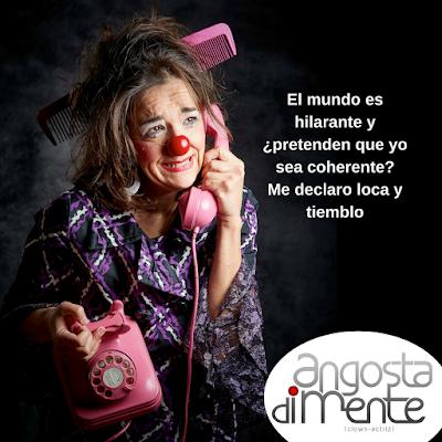 payasa española Angosta Di Mente,  clown, teatro