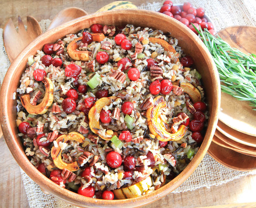 Cranberry and Squash Wild Rice Salad by greens & chocolate