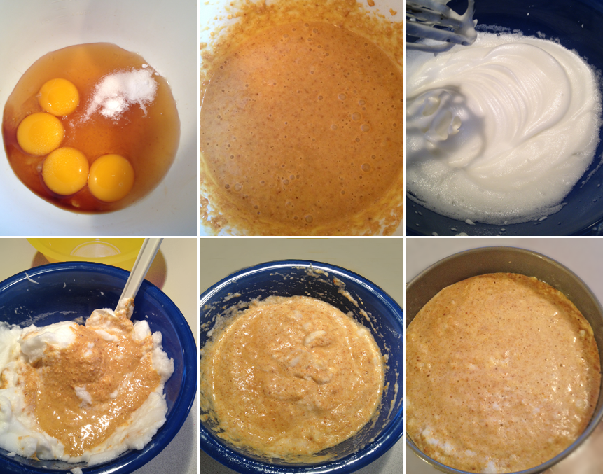 Step by step process of mixing the cake batter and pouring into the springform pan