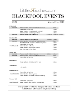 B2B Blackpool Hotelier Free Resource - Blackpool Shows and Events March 22 to March 28 - PDF What's On Guide Listings Print-off #152 Thursday March 21