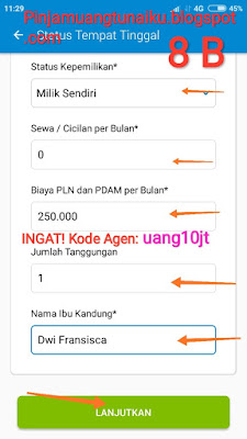 Gambar Sambungan Langkah Ke 8 pengisian DATA KTP Aplikasi pinjaman Tunaiku kode agen uang10jt
