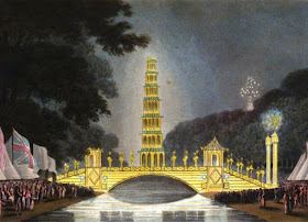 Chinese Bridge and Pagoda illuminated, St James's Park,   on 1 August 1814 from An Historical Memento by E Orme (1814)