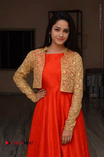 Telugu Actress Divya Nandini Stills in Orange Sleeveless Gown at Chennai Chaitrama Movie le Launch Event  0001.JPG