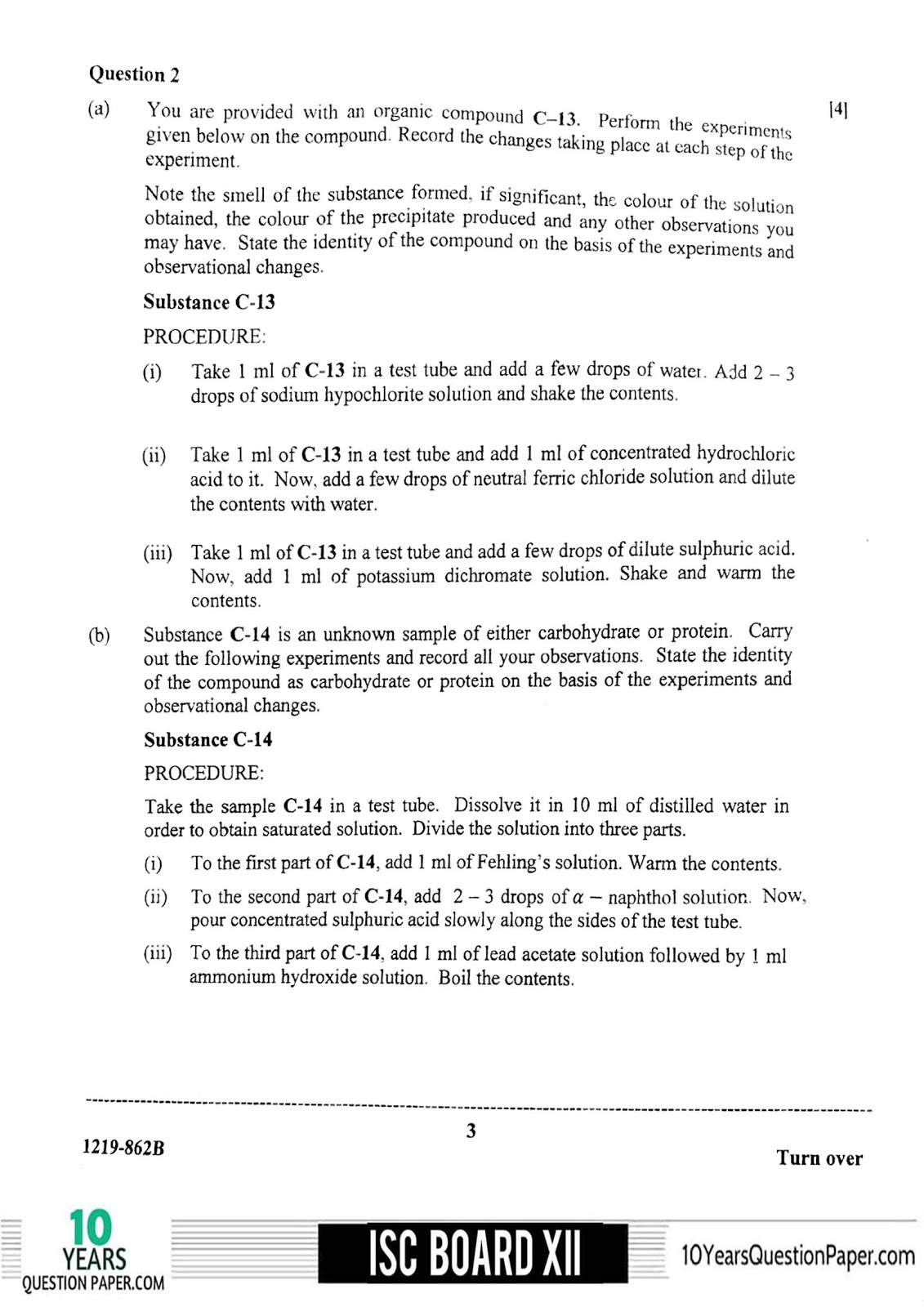 ISC 2019 Chemistry Practical Question Paper