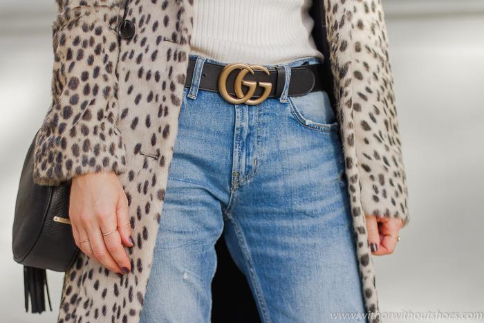 tnedencia el Cinturon Gucci de moda con letras GG piel negro