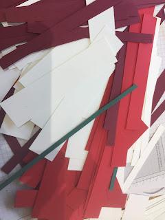 card off cuts, preparing card kits