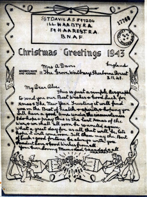 WW2 Airgraph: Christmas Greetings 1943