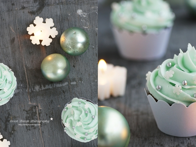 Schneeflocken Teelichter und Spekulatius Cupcakes