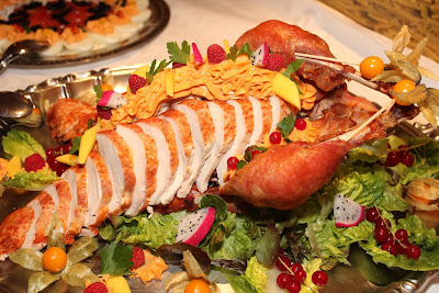 Holiday Spread with Turkey Breast Sliced Correctly