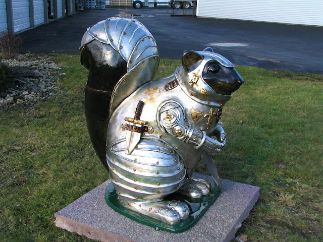 Warrior squirrel made of iron