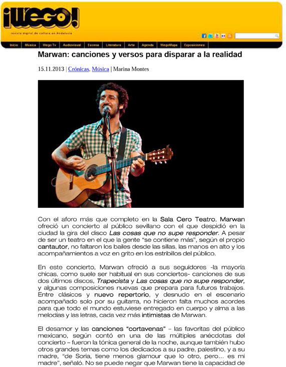 Crónica del concierto de Marwan en Sevilla 2013