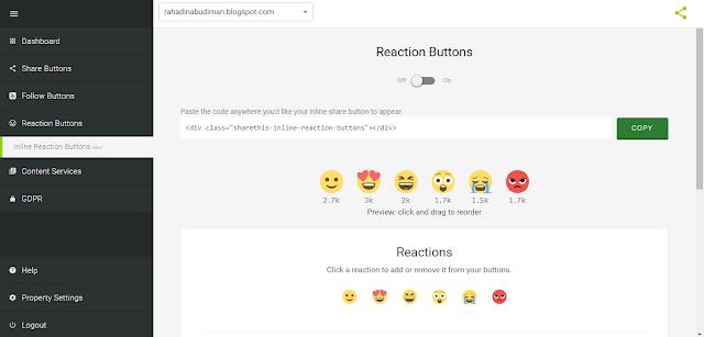 Cara Memasang Tombol Reaksi di Blog dengan Widget ShareThis