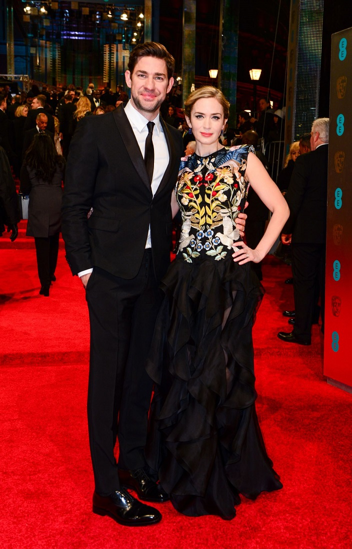 Best Actress nominee Emily Blunt dazzles in an eye-catching ruffled black gown as she joins John Krasinski at the BAFTAs