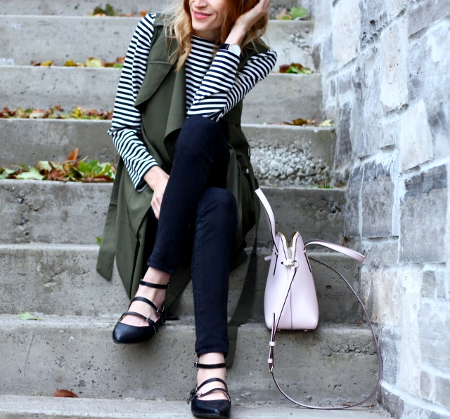 Pastels & Pastries fall style: Green long vest, Target ballet flats, Kate Spade blush Maise bag,