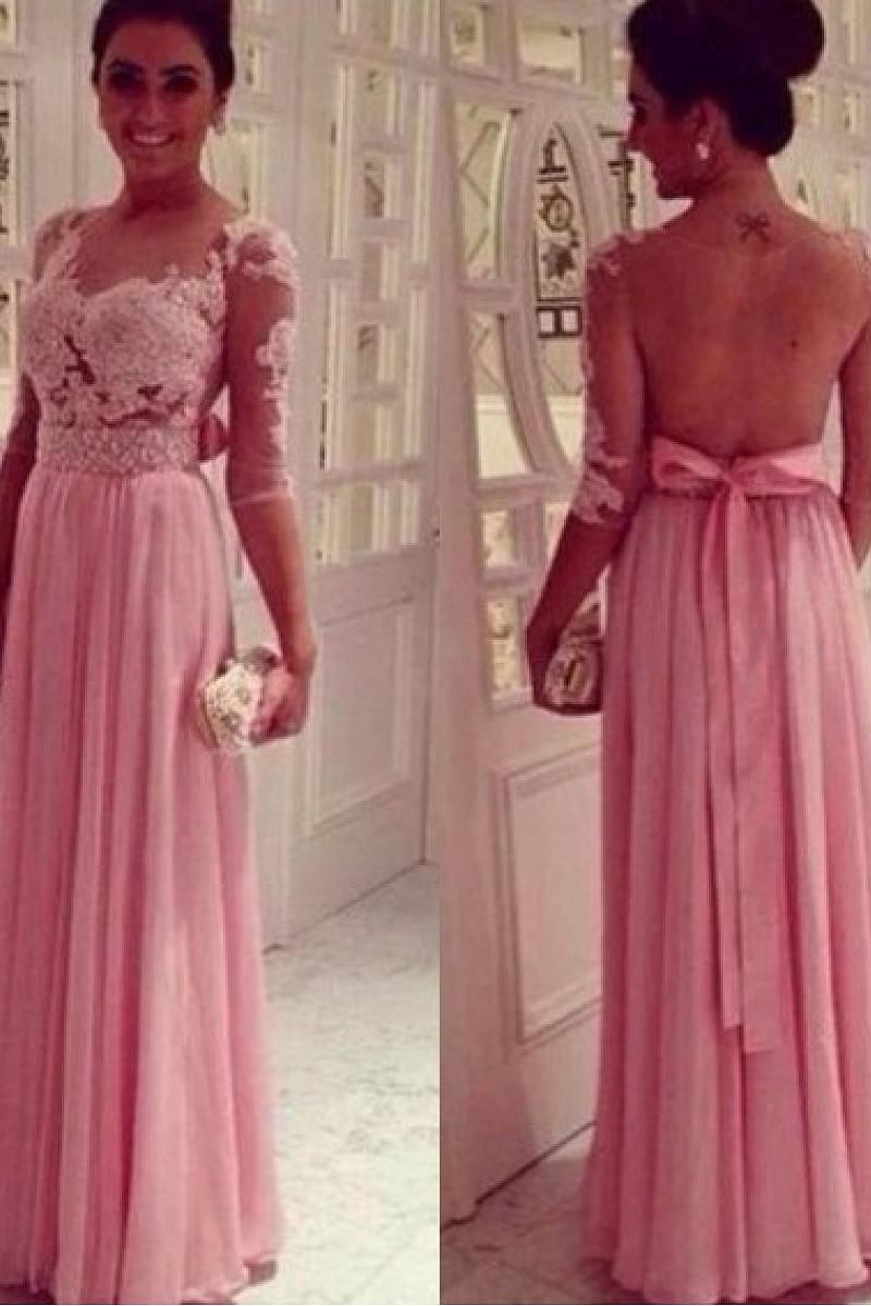 Elegant A-Line Bateau Beading 1/2 Sleeves Floor-Length Chiffon Evening Dresses