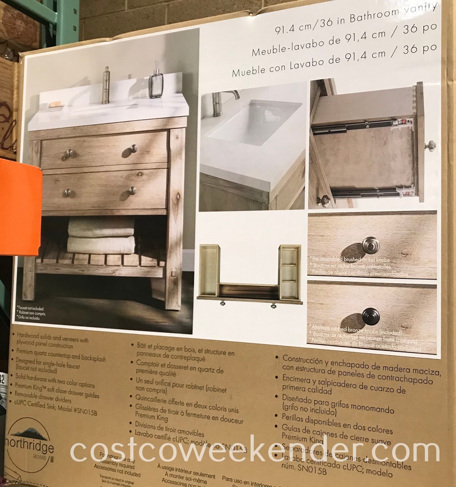 Costco 1273980 - Northridge Home Rustic Bathroom Vanity: great for any bathroom