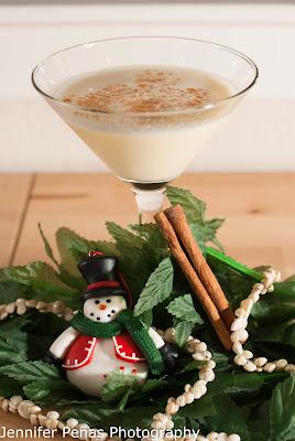 Mele Kalikimaka Martini, christmas cocktail, pineapple vodka, eggnog, cream of coconut, ground cinnamon, Hawaiian Christmas cocktail