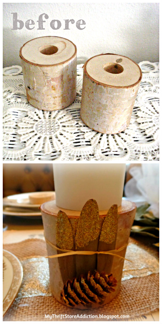 All That Glitters: Rustic Glam Birch Slices and Tablescape mythriftstoreaddiction.blogspot.com DIY birch candle holders