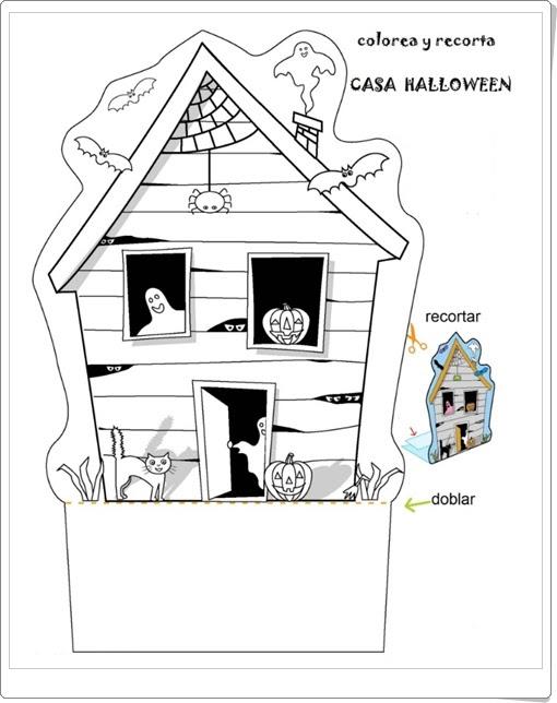 """""""Casa de Halloween para colorear y recortar"""""""