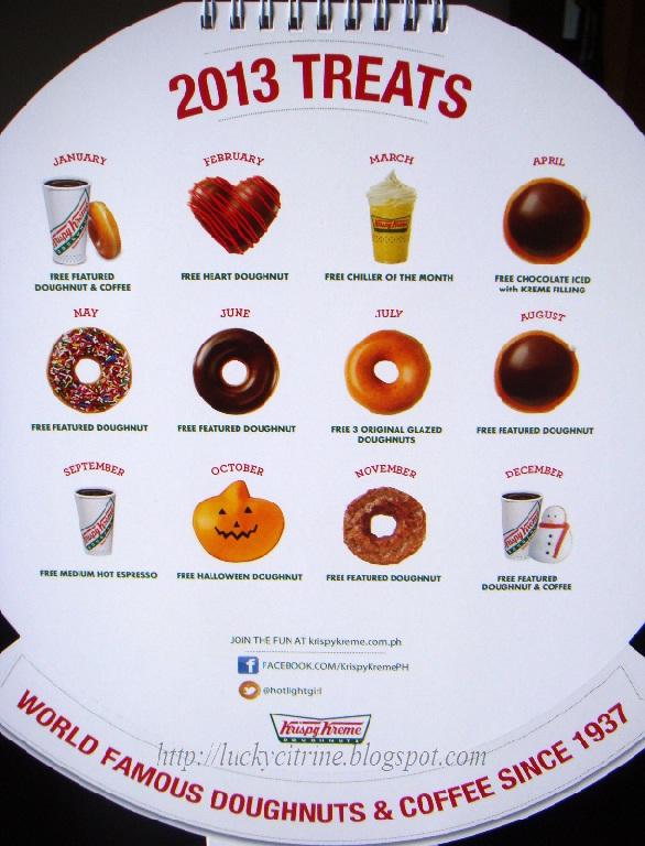 Krispy Kreme Calendar.Lucky Citrine Krispy Kreme 2013 Calendar With Awesome Freebies