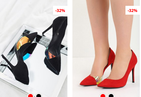 Pantofi stiletto Saska Negri, rosii cu dunga aurie eleganti
