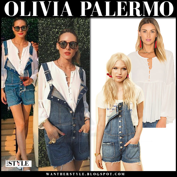 Olivia Palermo in white tularosa rachel blouse and denim short overalls lacademie the femme what she wore