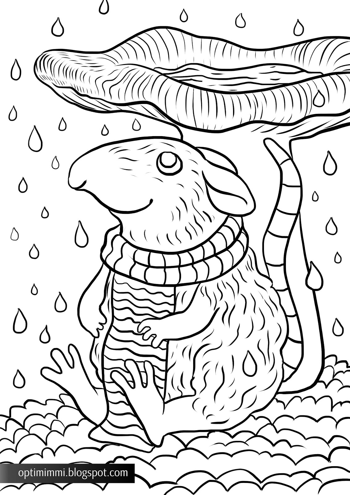Coloring book varityskuvat - A Coloring Page About A Mouse And A Mushroom In The Rain V Rityskuva Hiirest Ja
