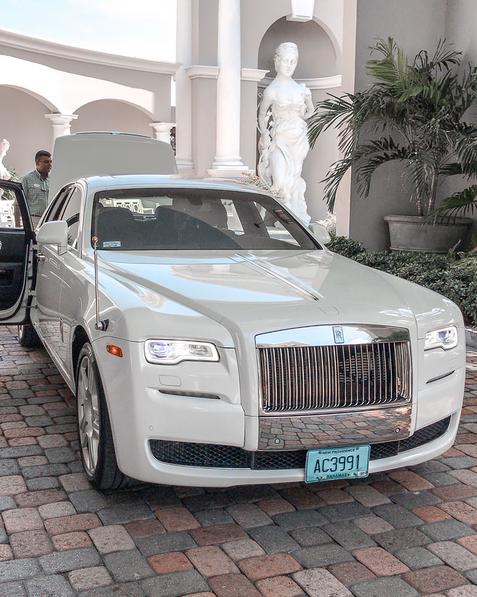 Rolls Royce Limousine Current Review of Sandals Royal Bahamian Resort in Nassau, The Bahamas. Nassau Bahamas Resorts. All-inclusive resort couples honeymoon vacation packages holiday. Private offshore island sandals.