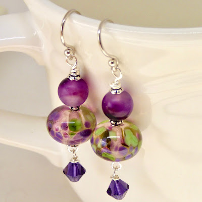 Modern purple and green earrings by BayMoonDesign