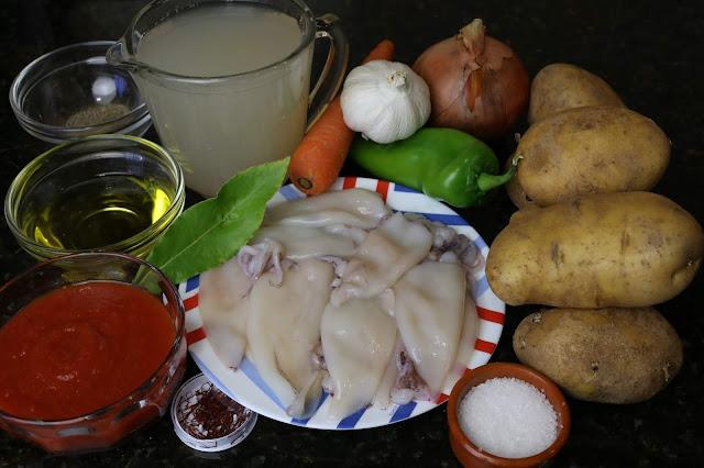 Ingredientes para guiso de patatas y calamares
